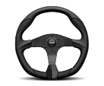 MOMO Street Steering Wheel - Quark - 350mm Black Polyurethane w/ Black Airleather Insert and Brushed Black spokes - Part # QRK35BK0B