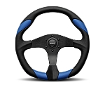 MOMO Street Steering Wheel - Quark - 350mm Black Polyurethane w/ Blue Airleather insert and Brushed Black spokes - Part # QRK35BK0BU