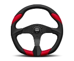 MOMO Street Steering Wheel - Quark - 350mm Black Polyurethane w/ Red Airleather insert and Brushed Black spokes - Part # QRK35BK0R