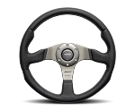 MOMO Street Steering Wheel - Race - 350mm Black Leather w/ Black Airleather insert and Brushed Anthracite spokes - Part # RCE35BK1B