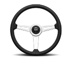 MOMO Street Steering Wheel - Retro - 360mm Black Leather with Brushed Aluminum spokes - Part # RET36BK2S