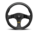 MOMO Street Steering Wheel - Team - 280mm Black Leather w/ Black Airleather insert and Brushed Black spokes - Part # TEA28BK0B