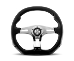 MOMO Street Steering Wheel - Trek R - 350mm Black Airleather w/ Black Leather and Chrome Insert and Brushed Aluminum spokes - Part # TRK-R35BK0B