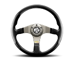 MOMO Street Steering Wheel - Tuner - 350mm Black Leather with Brushed Anthracite spokes - Part # TUN35BK0S