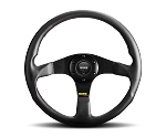 MOMO Street Steering Wheel - Tuner - 320mm Black Leather with Brushed Black spokes - Part # TUN32BK0B