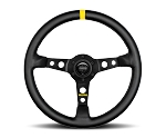 MOMO Track Steering Wheel - MOD.07 - 350mm Black Leather w/ Yellow Stripe and Brushed Black spokes - Part # R1905/35L