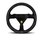MOMO Track Steering Wheel - MOD.11 - 260mm Black Suede with Brushed Black spokes - Part # R1920/26S
