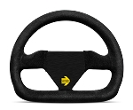 MOMO Track Steering Wheel - MOD.12 - 250mm Black Suede with Brushed Black spokes - Part # R1922/25S