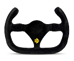 MOMO Track Steering Wheel - MOD.27/C - 270mm Black Suede with Brushed Black spokes - Part # R1925C/27S