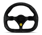 MOMO Track Steering Wheel - MOD.27 - 290mm Black Suede with Brushed Black spokes - Part # R1925/29S