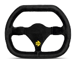 MOMO Track Steering Wheel - MOD.29 - 270mm Black Suede with Brushed Black spokes - Part # R1929/27S