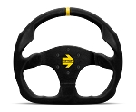 MOMO Track Steering Wheel - MOD.30 - 320mm Black Suede w/ Yellow Stripe and Brushed Black spokes - Part # R1960/32S