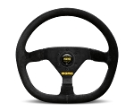 MOMO Track Steering Wheel - MOD.88 - 350mm Black Suede with Brushed Black spokes - Part # R1988/35S