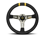 MOMO Track Steering Wheel - MOD.DRIFT - 330mm Black Suede w/ Dual Yellow Stripes and Brushed Anthracite spokes - Part # R1907/33S