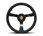 MOMO Track Steering Wheel - MOD.N35 - 350mm Black Suede with Brushed Black spokes - Part # R1971/35NS