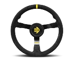 MOMO Track Steering Wheel - MOD.N35 - 350mm Black Suede w/ Yellow Stripe and Brushed Black spokes - Part # R1971/35S
