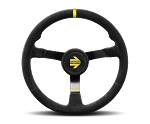 MOMO Track Steering Wheel - MOD.N38 - 380mm Black Suede w/ Yellow Stripe and Brushed Black spokes - Part # R1971/38S