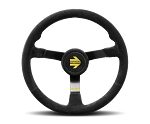 MOMO Track Steering Wheel - MOD.N38 - 380mm Black Suede with Brushed Black spokes - Part # R1971/38NS