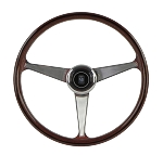 Nardi Steering Wheel - Anni '60 - 380mm (14.96 inches) - Mahogany Wood with Polished Spokes - Part # 5012.39.3000