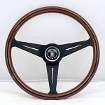 Nardi Steering Wheel - Classic Wood - 390mm (15.35 inches) - Mahogany Wood with Black Spokes - KBA/ABE 70065 - Part # 5051.39.2300