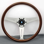 Nardi Steering Wheel - Classic Wood - 360mm (14.17 inches) - Mahogany Wood with White Spokes - Trim Ring with Screws at Sight - Part # 5061.36.1090