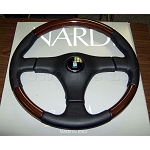 Nardi Steering Wheel - Gara 3/3 L/W - 365mm (14.37 inches) - Black Leather and Wood with Black Leather Center Pad - Part # 5252.36.2671