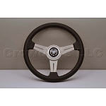 Nardi Steering Wheel - Classic Leather - 340mm (13.39 inches) - Black Leather with Grey Stitching - White Anodized Spokes - Part # 6061.34.1001