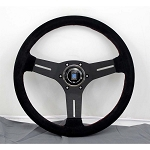 Nardi Steering Wheel - Competition - 330mm (12.99 inches) - Black Suede with Red Stitching - Black Spokes - Classic Horn Button - Part # 6070.33.2094