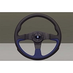 Nardi Steering Wheel - Challenge - 350mm (13.78 inches) - Black Smooth Leather & Blue Perforated Leather - Black Stitching - Black Trim Ring & Spokes - Part # 6089.35.2070