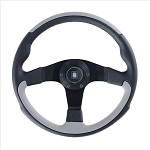 Nardi Steering Wheel - Leader - 350mm (13.78 inches) - Black / Gray Leather - Black Spokes - Part # 6090.35.2071