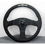 Personal Steering Wheel - Pole Position - 330mm (12.99 inches) - Black Leather / Black Perforated Leather - Black Spokes - Part # 6521.33.2090
