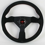 Personal Steering Wheel - Grinta - 330mm - Black Suede - Red Stitching