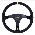 Personal Steering Wheel - Trophy - 350 mm Black Suede Leather/Yellow Stripe
