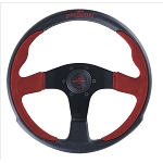 Personal Steering Wheel - Pole Position - 350mm (13.78 inches) - Black Leather / Red Suede Leather - Black Spokes - Part # 6521.35.2011