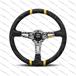 MOMO Street Steering Wheel - Ultra - Premium Race Track Microfiber Grip w/ Yellow Dual Center Stripes and Black MOMO Etched Spokes - Part # ULT35BK0BK