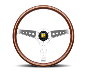 MOMO Heritage Steering Wheel - California Wood - 360mm Mahogany Wood with Polished spokes - Part # CAL36WD0P