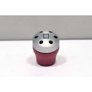 Nardi Gear Shift (Shifter) Knob - Ambition Reverse - Aluminum / Red Perforated Leather - Part # 3547.00.1005