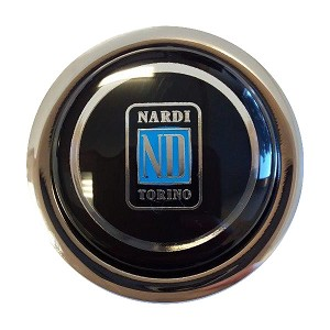 "Nardi Steering Wheel Horn Button -Classic - Black with Nardi ""ND"" Torino Logo - Non-Functioning Horn button - Part # 4041.01.0208"