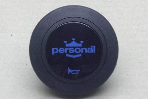 Personal Steering Wheel Horn Button - Black with Blue Personal Logo - Part # 4841.02.0207