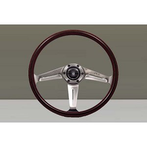 "Nardi Steering Wheel - Classic Wood - 367mm (14.45 inches) - Mahogany Wood - Polished ""Side"" Spokes and Trim Ring with Screws at Sight - Type A Horn Button - Part # 5049.36.3000"