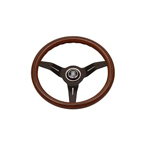 Nardi Steering Wheel - Deep Corn - 330mm (12.99 inches) - Mahogany Wood with Black Spokes - Classic Horn Button - Part # 5069.33.2000
