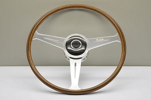 Nardi Steering Wheel - Vintage Replica - 420mm (16.54 inches) - Mahogany Wood with Polished Spokes - Alfa Romeo 1900 Berlina & Sport - Part # 5801.42.3000
