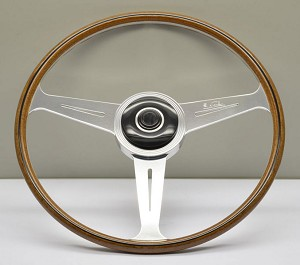 Nardi Steering Wheel - Vintage Replica - 420mm (16.54 inches) - Mahogany Wood with Polished Spokes - Alfa Romeo Giulietta Berlina & Sport - Part # 5802.42.3000