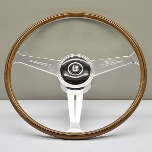 Nardi Steering Wheel - Vintage Replica - 420mm (16.54 inches) - Mahogany Wood with Polished Slotted Spokes - Alfa Romeo Giulia Berlina & Sport - Part # 5803.42.3000
