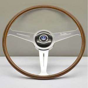 Nardi Steering Wheel - Vintage Replica - 420mm (16.54 inches) - Mahogany Wood with Satin Spokes - Mercedes 300 SL Roadster - Part # 5812.42.3000