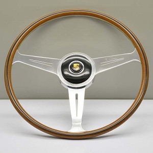 Nardi Steering Wheel - Vintage Replica - 420mm (16.54 inches) - Mahogany Wood with Polished Spokes - Porsche 356A (Until 1959) - Part # 5813.42.3000