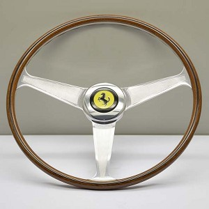 "Nardi Steering Wheel - Vintage Replica for Ferrari (1959-1965) - 420mm (16.54 inches) - Mahogany Wood - Polished Spokes with ""Guilloche"" - Ferrari Logo Horn Button - Part # 5819.42.3001"