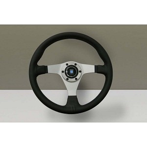 Nardi Steering Wheel - Gara 3/0 - 350mm (13.78 inches) - Black Smooth Leather with Black Stitching - White Spokes - Part # 6020.35.1071