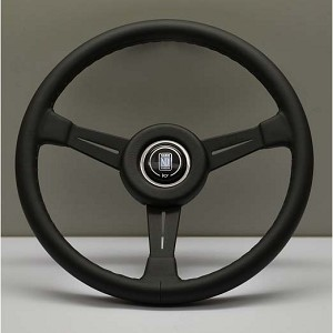 Nardi Steering Wheel - Classic Leather - 360mm (14.17 inches) - Black Leather with Black Stitching - Black Spokes - Black Leather Trim Ring - KBA/ABE 70122 - Part # 6051.36.2901