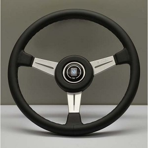 Nardi Steering Wheel - Classic Leather - 360mm (14.17 inches) - Black Leather with Black Stitching - Satin Spokes - Black Leather Trim Ring - KBA/ABE 70122 - Part # 6051.36.6901